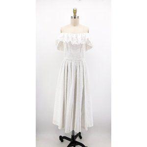 Vintage Lanz Originals Dress Eyelet Off Shoulder